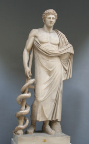 Aesculapius with his staff