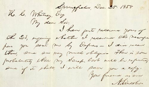 holograph: Abraham Lincoln letter