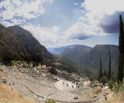 Theater of Delphi on the southwestern spur of Mount Parnassus