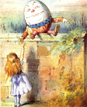 Alice with Humpty Dumpty, artist: John Tenniel