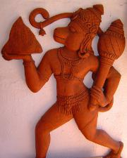 A sculpture of Hanuman in terra-cotta