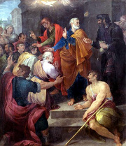 Peter's conflict with Simon Magus, painting by Avanzino Nucci