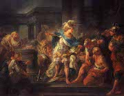 Alexander cuts the Gordian Knot: painting by Jean-Simon Berth�lemy