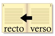recto and verso, right to left